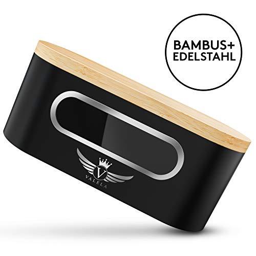 VALELA Brotkasten - Brotbox zur Lagerung von Gebäck & Kuchen Hochwertige Brotdose für die Küche Holz Alu Brotbehälter + Schneidebrett