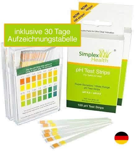 SimplexHealth PH-Teststreifen für Urin und Speichel (Doppelpack 200 Streifen) inklusive 30 Tage Aufzeichnungstabelle