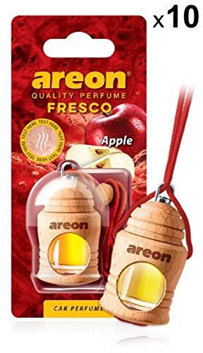 Areon Fresco Auto Duft Apfel Apple Autoduft Flasche Glas Duftflakon Parfüm Flakon Holz Lufterfrischer Aufhängen Hängend Anhänger Spiegel Rot Geruch Erfrischer 4ml 3D ( Pack x 10 )