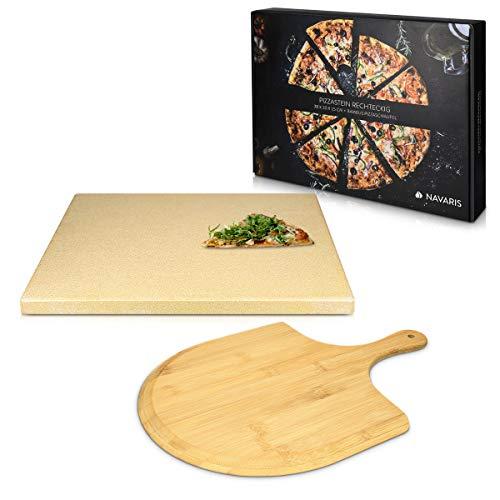 Navaris Set de piedra y pala para pizza - Piedra para horno de cordierita y pala de madera de bambú...