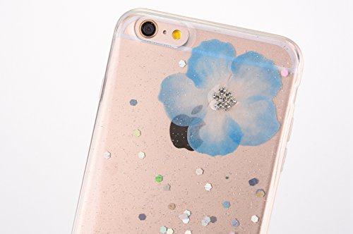 Custodia Cover iPhone 6/6S plus Silicone Morbida,Ukayfe Trasparente Cristallo di Lusso di Bling Glitter Paillettes Strass e Fiore Colorato Disegno Diamante per iPhone 6/6S plus Clear Flexible TPU Gel  Blu 2#