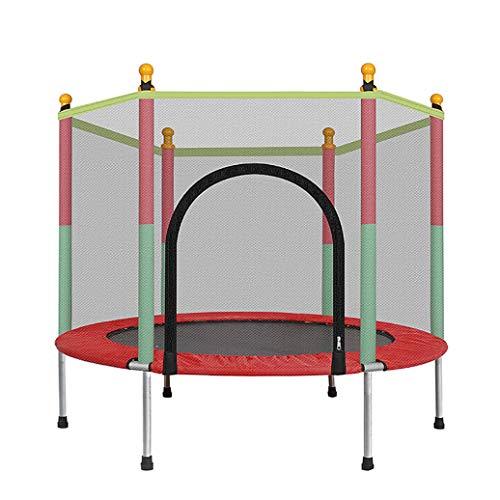 YGUOZ Trampolin für Kinder, Indoor Outdoor Trampolin Jumper, Trampolin Set mit Sicherheitsnetz, Sprungmatte und Hochfeste Federn,Red_55in