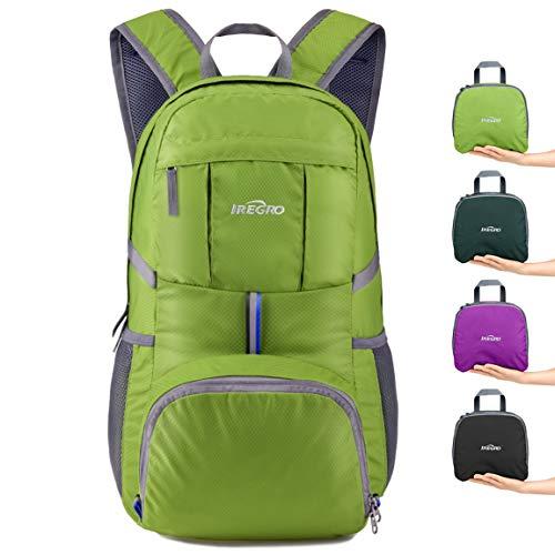IREGRO 35 Liter Faltbarer Rucksack Leichter Tagesrucksack, für Outdoor Wandern Reisen (Grasgrün) (Leichte Rucksäcke)