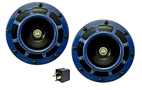 Velocity DUAL Super Tone LOUD Blast 139Db Universal Euro BLUE ROUND HORNS (Quantity 2) High / Low Tone Twin Horn Kit Pair Compact - Extremely LOUD for Nissan Datsun Fairlady Z Frontier Titan Murano