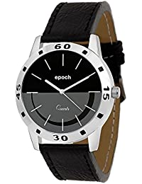 Epoch Analog Stylish Fashionable Black Dial Genuine Leather Strap Watches For Men And Boys