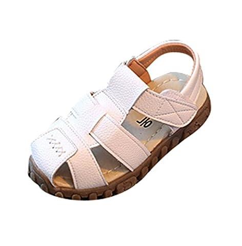 Moorui Garçon Filles Bout Fermé Sandales avec Velcro Chaussure de Marche Bébé Enfant Blanc Asia 21 (13.5cm)