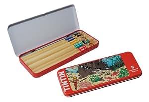 Boite à Crayon en Métal avec 8 Crayons - Les Aventures de Tintin - Rouge