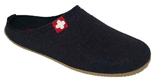 Living Kitzbühel Unisex-Erwachsene Pant. Schweizer Kreuz& Fußbett Uri Pantoffeln, Schwarz (Schwarz), 36 EU