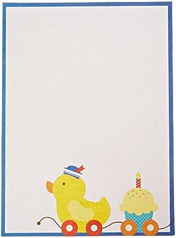 Mara-mi Bleu canard bordée Imprintable Invitation, 10-count (90358)