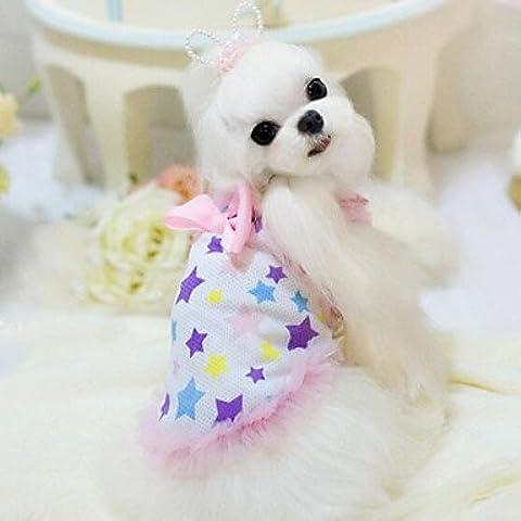 MJD Perros Vestidos Azul / Rosado Ropa para Perro Verano / Primavera/Oto?o Cl¨¢sico / Lazo / Estrellas Boda / Navidad / San Valent¨ªn / Moda , pink ,