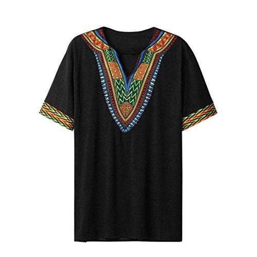 UJUNAOR Mode Herren Slim Fit V-Ausschnitt gedruckt Muskel T-Shirt Lässige Tops Bluse(2XL,Schwarz)