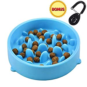 Joyoldself Gamelle d'alimentation Lente Gamelle Anti-glouton slow Feed avec Clicker Chien pour Chiens Chat, Bleu