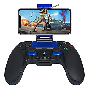 STOGA Wireless Controller with Vibration Feedback, Mobile Game Controller with Cellphone Clamp Compatible with iPhone iOS 11.3 & Android 6.0 Above System
