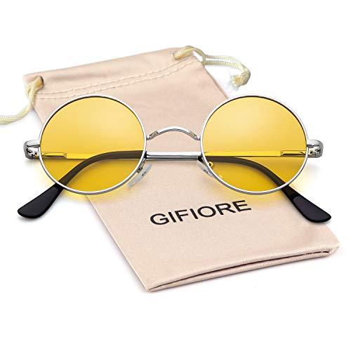 GIFIORE John Lennon Brille Runde polarisierte Sonnenbrille Hippie Brille für Damen Herren Gr. L, Silver Frame Yellow Lens