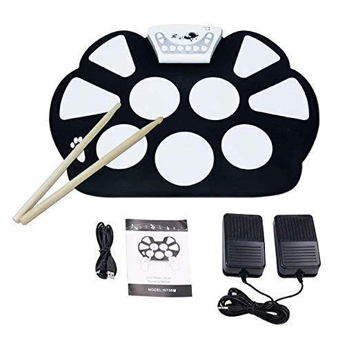 Lzour USB Electric Drum Set-Junior Drum Practice Pads mit Trommelsticks-Roll-Up-Trocken-Kit Electronic mit Recorder Funktion für ()
