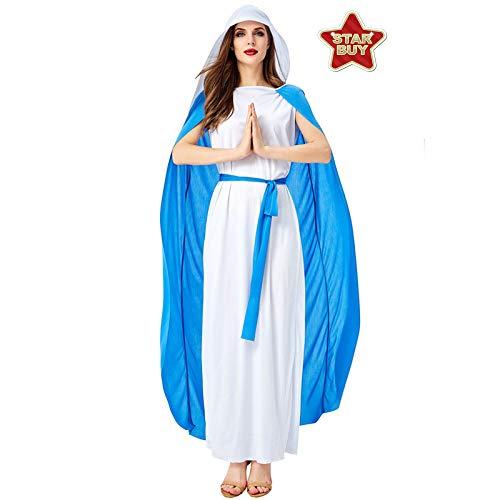 Sexy Jesus Kostüm - COSOER Halloween-Kostüm Jesus Ostern Christus Missionar Preist Poesie Klasse Nonne Pastor Kleid,White+Blue-M