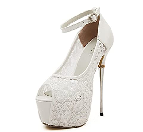 Femmes Dames Nouveau Super Stiletto en métal Chaussures à talons hauts Chaussure à cheville Peep Toe Poisson Bouche Sexy Lace Mesh Surface Platform Sandales imperméables Black White Spring Summer Party Evening Prom , White , EUR 36/ UK 3.5