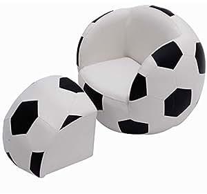 FAUTEUIL SIÈGE EN BALL POUR ENFANT AVEC POUF EN FORME DE FOOTBALL BLANC-NOIR NEUF07