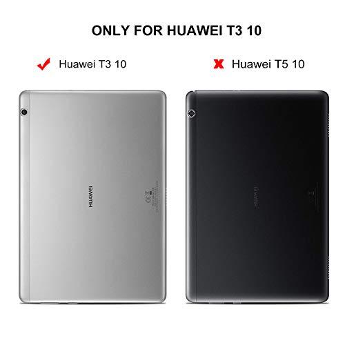 ELTD Huawei MediaPad T3 10 Custodia Cover, Ultra Lightweight Pelle con Funzione di Stand Flip Copertina Smart Case Cover per Huawei MediaPad T3 10, Bianco