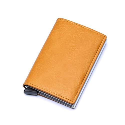 YDFGG Brieftasche Portemonnaie Herren Klein Schlank Kartenhalter Portemonnaie Dünn Mini Trifold Portemonnaie Herren Geldbeutel Walet, Gelb -