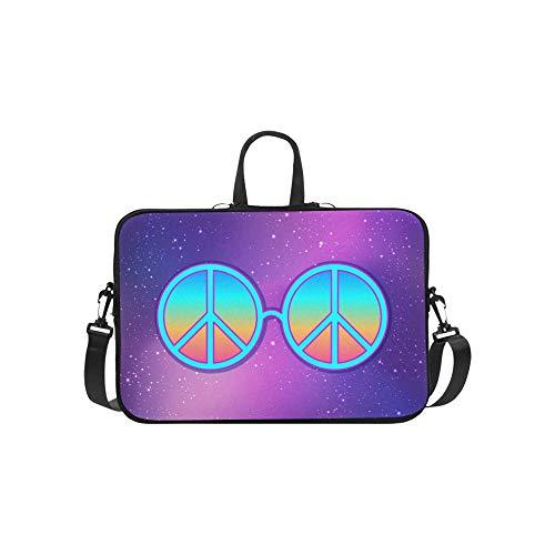 Runde Brille Hippie-Friedenszeichen über Aktenkoffer-Laptoptasche-Kurier-Schulter-Arbeitstasche Crossbody-Handtasche für das Geschäftsreisen