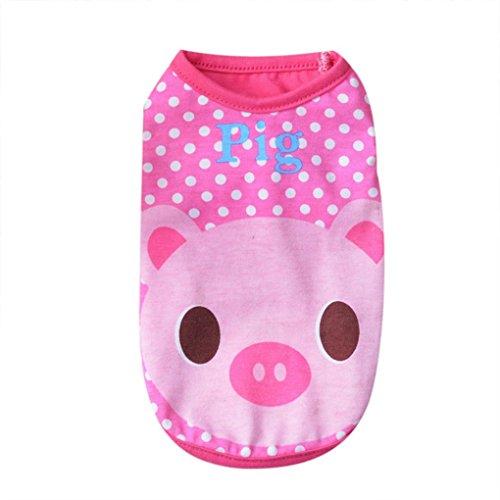 Kostüm Schwein Weibliches (Niedliche Hundekleidung, Hmeng Karikatur Bunte Welpenweste für Frühlings Sommer Karikaturmuster Haustier Kleidung Kleid Übergröße (XL,)