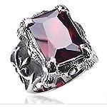 خاتم رجالى من التيتانيوم مع حجر العقيق الاحمر المميز
