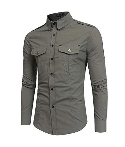 CuteRose Men's Stylish Single Breasted Premium Plus-Size Western Shirt Army Green XS