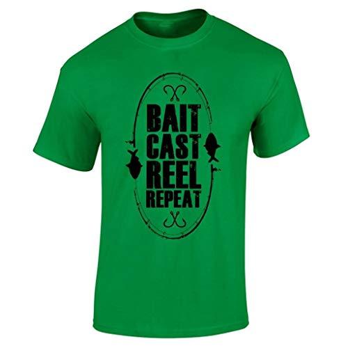 TIMOTHY Bait Cast Reel Repeat 100% Baumwolle T-Shirt Komfortables T-Shirt für Outdoor-Sportarten (Reel Cast)