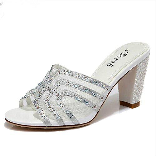 LGK&FA Estate Donna Sandali All-Match con ciabatte sandali con Diamanti grezzi di svago allaperto pantofole. 38 Gold 36 Silver