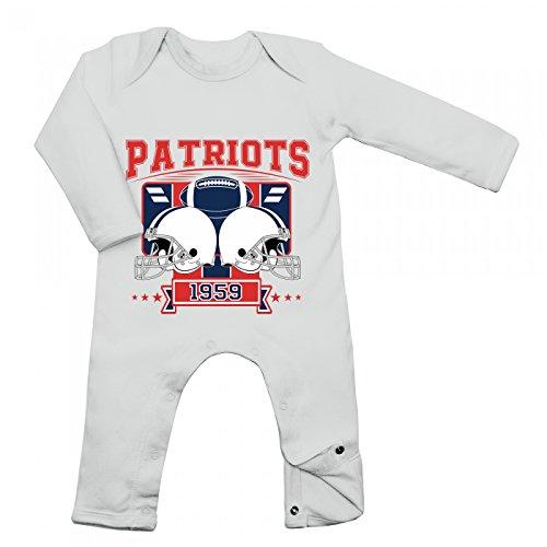 Shirt Happenz Patriots Babybody 1959 Super Bowl American Football Langarm Langärmliger Strampler, Farbe:Weiß (White BZ13);Größe:3-6 Monate (Langarm Super-bowl-shirts)