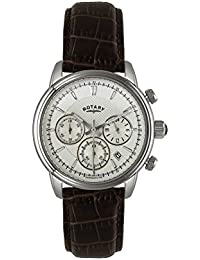 Rotary Men's Quartz Watch with White Dial Chronograph Display and Brown Leather Strap GS02876/06