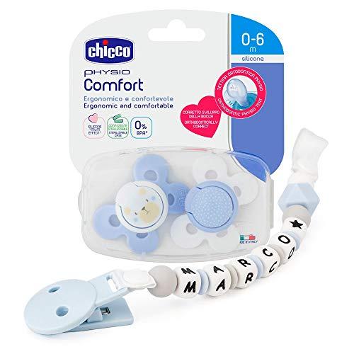 RUBY - Chupetero personalizado para bebe con nombre bola silicona antibacteria con pinza de acero inoxidable. 2º unid al 15% de desc