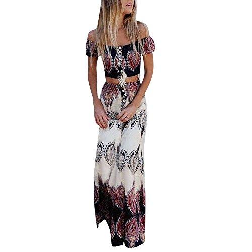 und Bluse Sommer Strand Druck Weste Shirt Tops Bluse Röcke 2PCS Set Frauen Ärmellos Oberteil + Rock Zweiteiler Cocktailkleid Party Clubwear ()