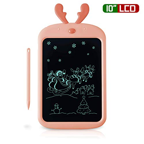 Richgv Neueste Kinder Schreibtafel, 10-Zoll-LCD-Writing-Tablet, Elk Digital Drawing Pad für Kinder, mit Screen Lock/Stift/2pcs Batterien
