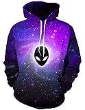 Ocean Plus Herren 3D Kapuzenpullover Hoodie Halloween Cosplay Sweatshirt Hooded Sweat Einzigartig Galaxie Pullover (S/M (Brustumfang: 112-132CM), Lila Alien)