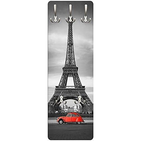 Appendiabiti da parete rosso anatra sulla torre Eiffel Parigi Francia