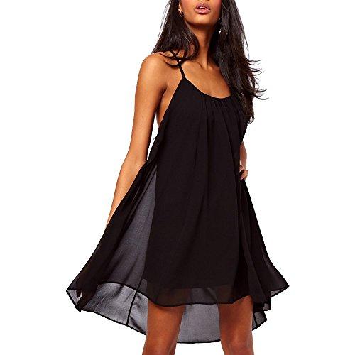 Hoofun Damen Sexy Chiffon Mini Kleid Rueckfrei Ball-Abendkleid Cocktailkleid Strandkleid Sommerkleid Black