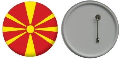 Miroir insigne de bouton Macédoine drapeau - 58mm