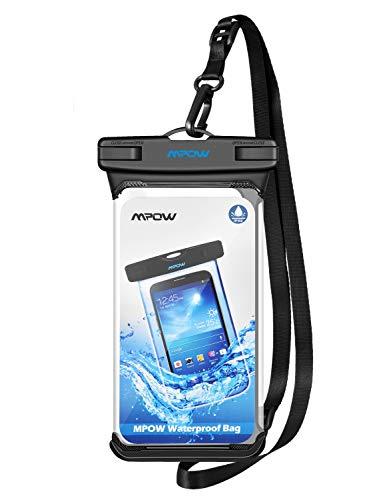 Mpow IPX8 Wasserdichte Handyhülle, Einteilige Universale Trockentasche iPhone X/XR/XS MAX Handytasche, Volltransparente Wasserfeste Hülle für iPhone X / 8/Samsung Galaxy HTC