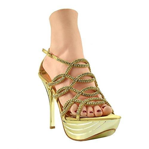 Kick Footwear - Donna Charmaine Chiaro Perspex Tacchi Alti Della Piattaforma Pole Dancing Scarpe Oro AB191