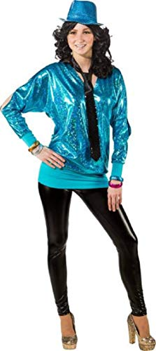 Womens Diva Kostüm Disco - Ladies 80's Metallic Blue Long Cold Shoulder Disco Diva Fun Fancy Dress Costume Outfit Top Plus Size UK Size 6-24 (UK 6-8 (EU 34/36, Blue)