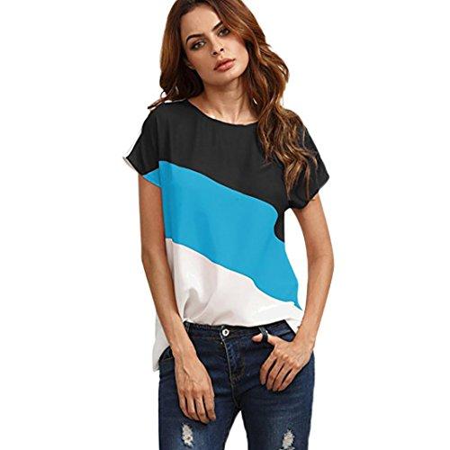 QinMM Mujer Redondo De La Túnica De Manga Corto Camisas Blusas Color Block T-Shirt Camisetas (Azul, S)