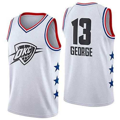 Taglia: S-XXL J-Met Maglie da Basket NBA Oklahoma City Thunder #13 Paul George Summer Gilet Top Senza Maniche per Uomo