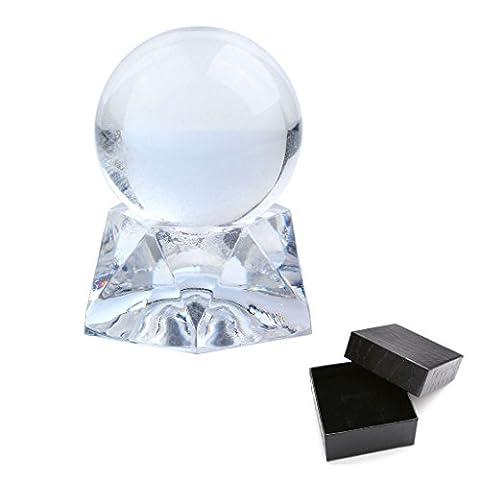 QGEM 34-36mm Sphère Boule en Pierre Quartz Cristal de Roche Blanc Naturelle Optique + Acrylique Support