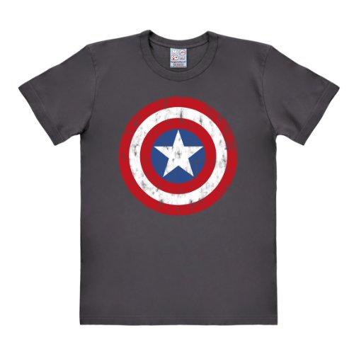 Logoshirt T-Shirt Captain America Logo - Marvel Comics - Rundhals T-Shirt dunkelgrau - Lizenziertes Originaldesign, Größe 3XL