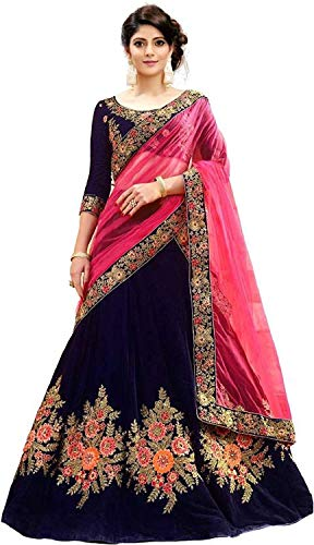 b051d16cc292d0 Anghan Brothers Women\'s Embroidered with blouse piece lehenga choli (free  size_ blue