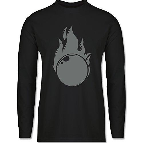 Bowling & Kegeln - Kegeln Flammen Kugel einfarbig - Longsleeve / langärmeliges T-Shirt für Herren Schwarz
