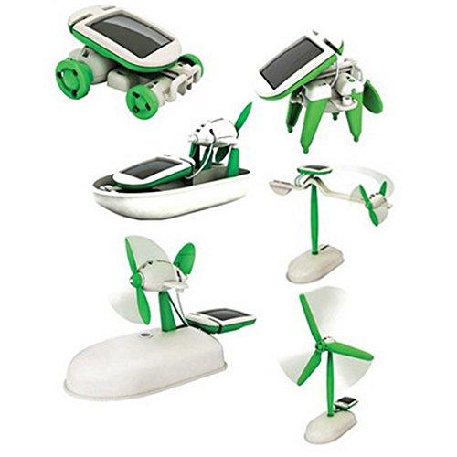 wortek Roboter Spielzeug für Kinder ab 8 Jahren Solar Robot 6 in 1 Kit DIY Baukasten zum Zusammenbauen und Experimentieren Photovoltaik Robotik-Bausatz umweltfreundliches Toy solarbetrieben