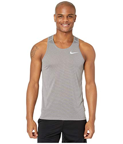 Nike Herren M NK Dry COOL Miler Tank Top, Gunsmoke/Atmosphere Grey/Reflective silv, L -
